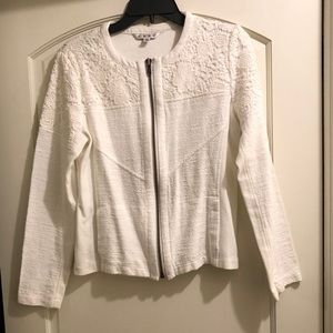 Cabi White Lace Occasion ZIP Up Jacket #715